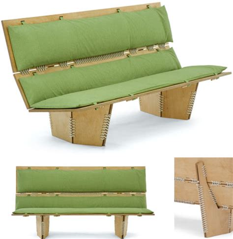 Indoor Bench Seat With Back Knit Leather Wood Contemporary Lounge Chair Design