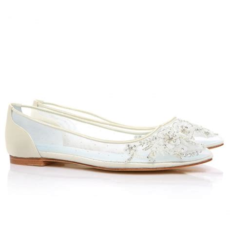 glass slipper shoes beautiful wedding flats with mesh and flower embroidery