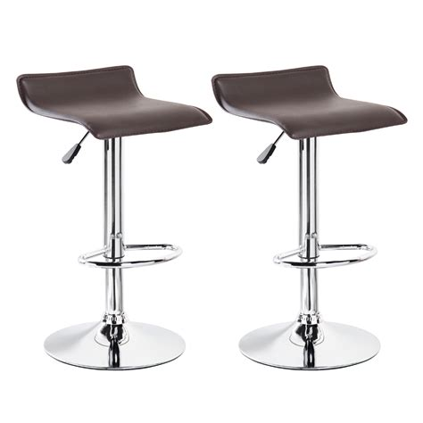Modern Leather Bar Stools by 2 Modern Bar Stools Pu Leather Adjustable Swivel Hydraulic Pair Chairs Counter Ebay