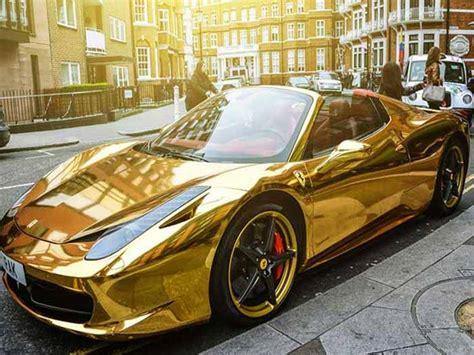 cars ferrari gold car war men with unusually luxurious cars automobile