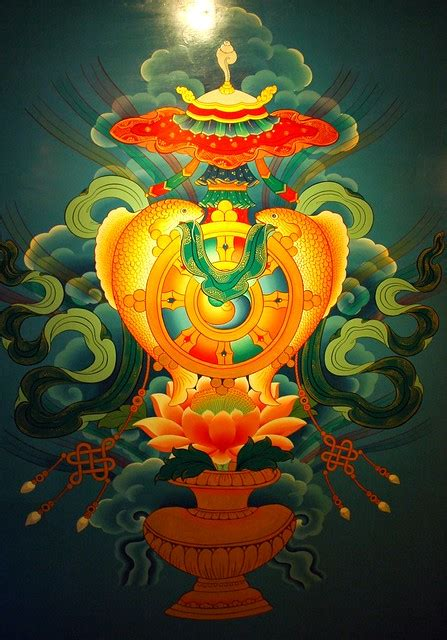 auspicious symbols wall mural tibetan buddhist