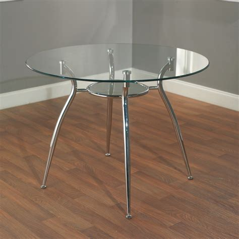 Glass And Chrome Dining Table Simple Living Tempered Glass Chrome Dining Table Contemporary Dining Tables By