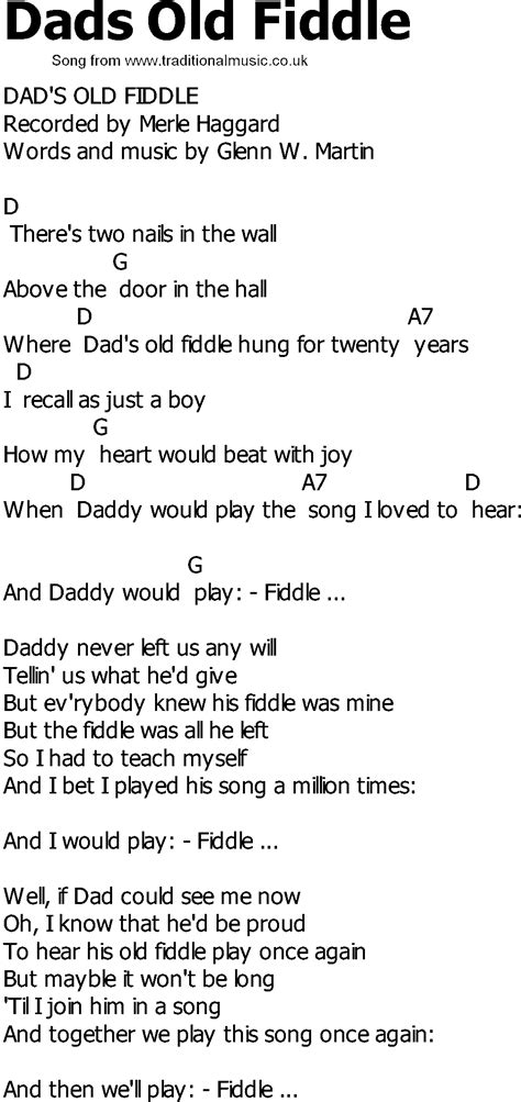 old country song lyrics with chords dads old fiddle
