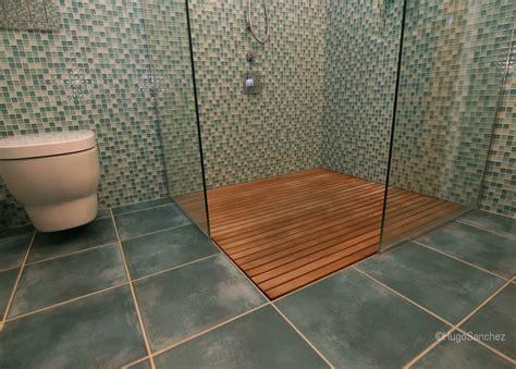bathroom shower teak floors