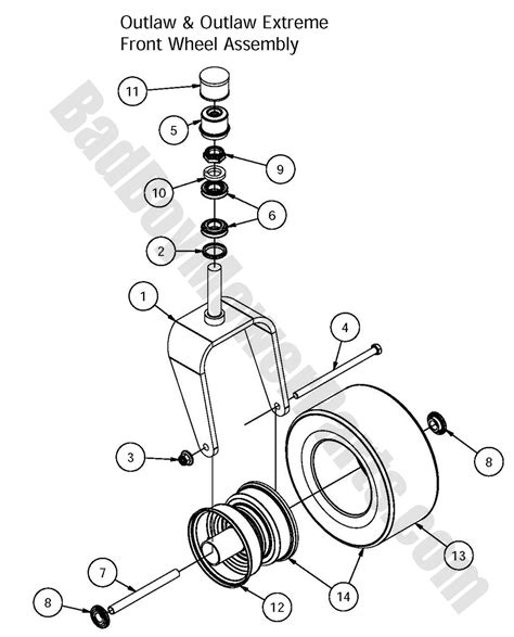 front wheel assembly diagram bad boy mower parts 2016 outlaw outlaw front