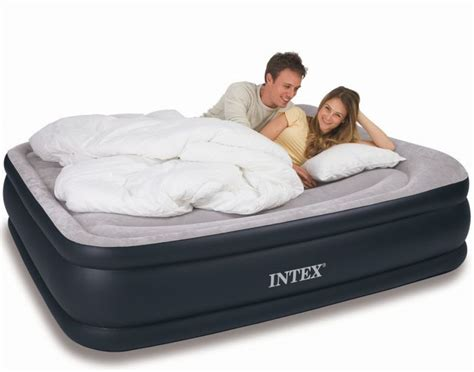 intex queen size deluxe pillow rest raised air bed    air beds  pillows