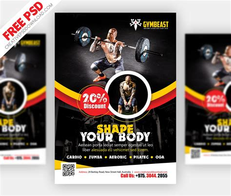 fitness flyer fitness flyer free psd