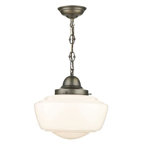 Vintage Light Pendant Nostalgic Schoolhouse Ceiling Pendant Light With Opal Glass Shade