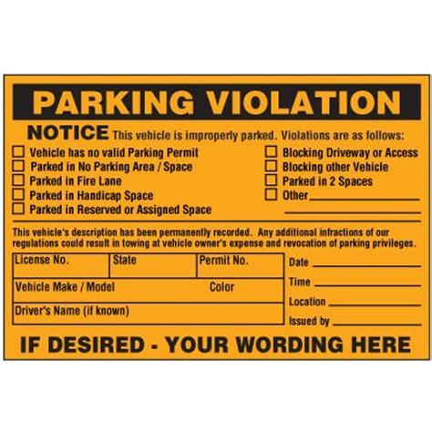 Vehicle Is Improperly Parked Violation Warning Labels Seton Parking Warning Notice Template