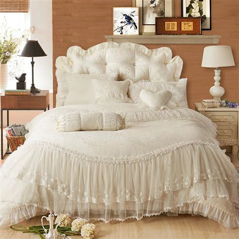Beige Comforter Sets Queen Luxury Lace Edge Princess Cream Colored Wedding Bedding