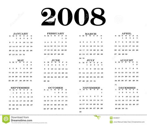 Calendrier De 2008 2008 Calendar Royalty Free Stock Photography Image 3348257