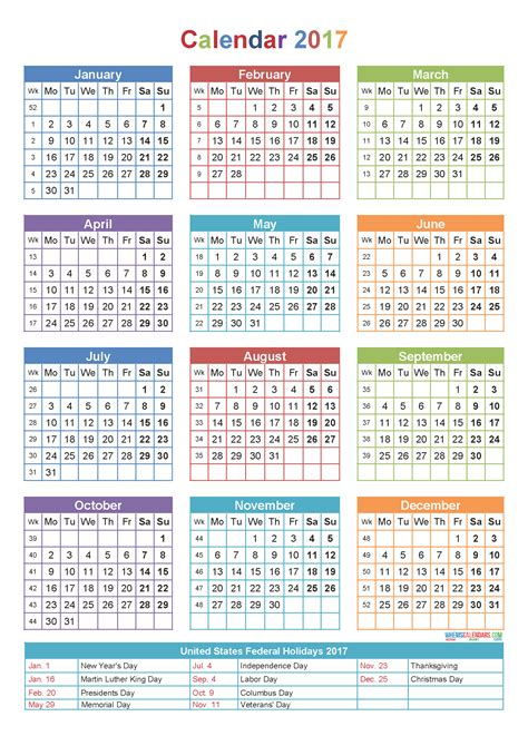 calendar template yearly printable yearly calendar 2017 with holidays template