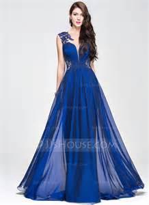 A Line Princess Scoop Neck Sweep Train Chiffon Prom Dress