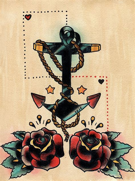 old school tattoo watercolor anchor and roses old school tattoo style print of