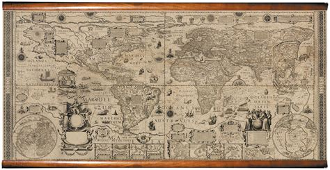 Wall Map Mural historic 1604 world map fabric giclee wall mural