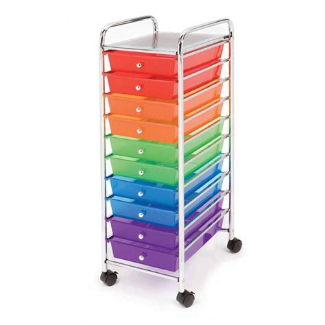 Drawer Cart With Wheels by Seville 10 Multi Color Drawer Rolling Cart Storage