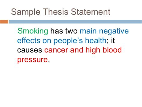 crafting a thesis statement effects essay and effects of cigarettes