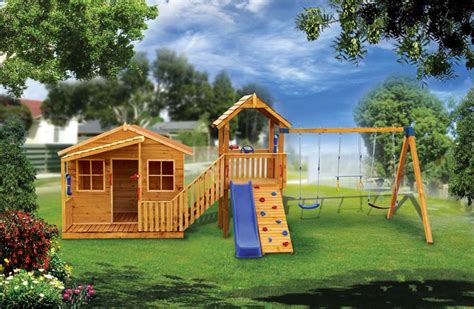 cubby house swing set best 25 wooden playhouse with slide ideas on pinterest