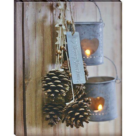lighted canvas with timer battery operated led lighted pine cone and lantern canvas