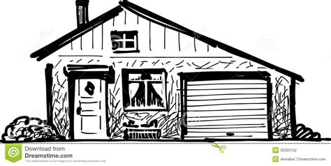 drawing of a house with garage house with garage stock photography image 33303152