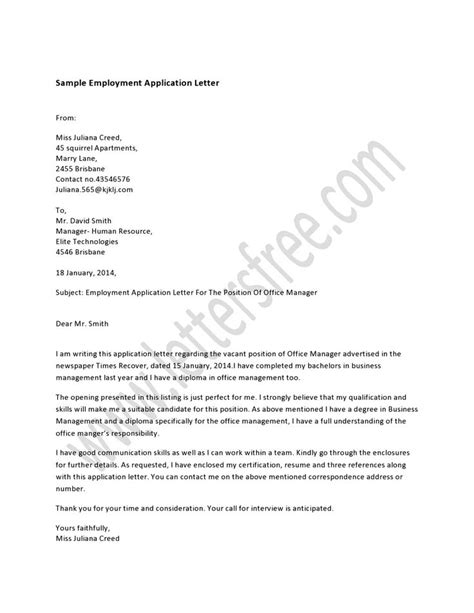 application letter for employment as a cleaner 7 best sle application letter images on a