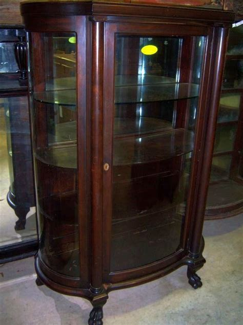 Mahogany Curved Glass China Cabinet Chippendale Federal Curved Glass Antique China Cabinet
