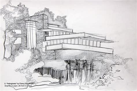 water house insurance sketch for fallingwater frank lloyd wright on behance