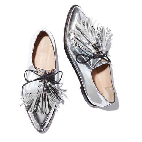 feminine oxford shoes jasper tassel oxfords metallic leather oxfords and tassels