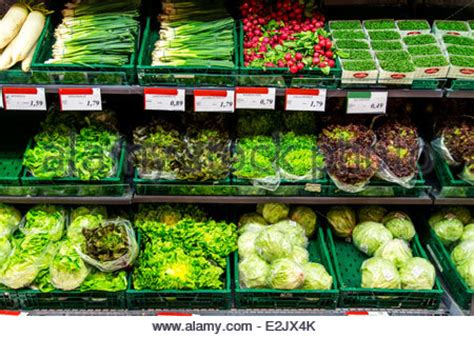 Frozen Vegetables Shelf by Shelf With Food In A Supermarket Refrigerated Fruit