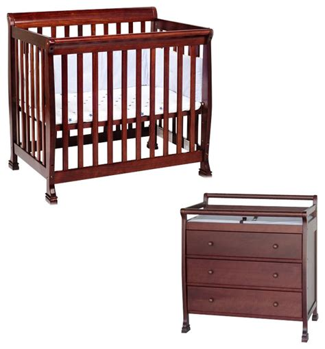 Davinci Nursery Furniture Sets Davinci Kalani Convertible Mini Wood Crib Set With Changing Table In Cherry Transitional