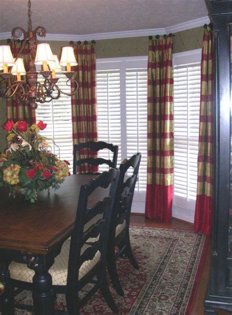 Dining Room Bay Window Treatments Hang Drapes Using Doorknobs Add Solid Fabric To Bottom Of Regular Length Drapes To Add