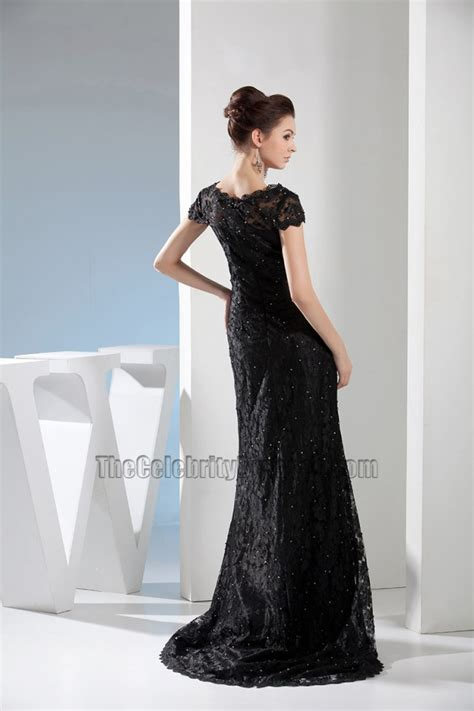 beadwork gown black lace v neck formal dress evening gown with beading
