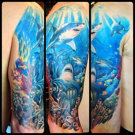 underwater tattoo underwater shark fix up tribal coverup by the talented