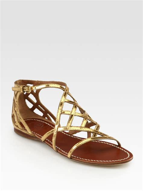 golden sandals burch amalie metallic leather sandals in gold lyst