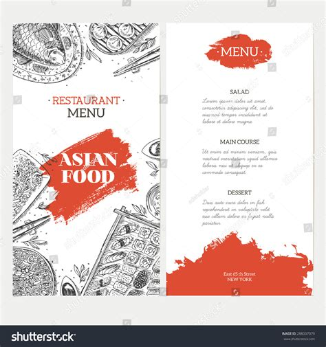 asian menu template asian food menu template linear graphic vector
