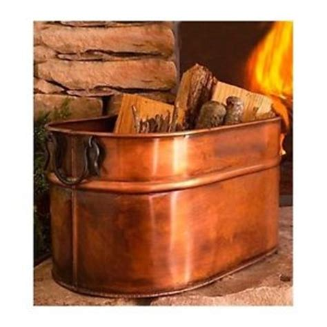 copper firewood tub indoor wood log holder for cast iron