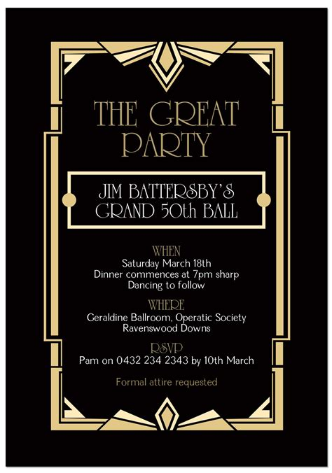 Great Gatsby Party Invitation Template Cimvitation Great Templates