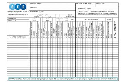 get a free racking inspection checklist sema approved