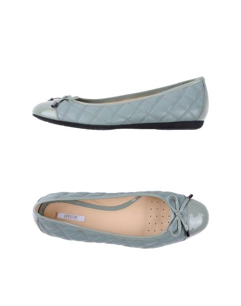 gray ballet flats womens shoes geox ballet flats in gray grey lyst