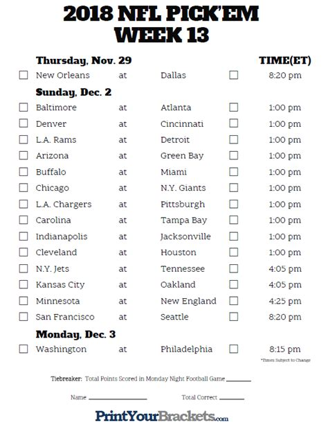 printable nfl schedule week 5 nfl weekly pick em 2017 page 5