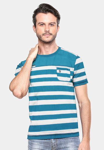 Bra Sport Salur qoo10 slim fit kaos pria putih biru salur