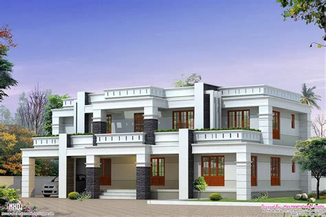 One Story Log Cabin Floor Plans by Flat Roof Luxury Home Design Kerala Home