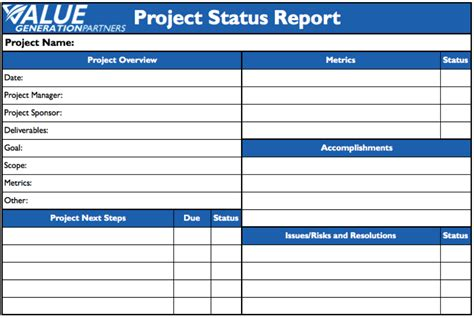 Project Management Value Generation Partners Vblog Project Management Status Report Template