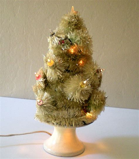 rare old lighted table top christmas tree