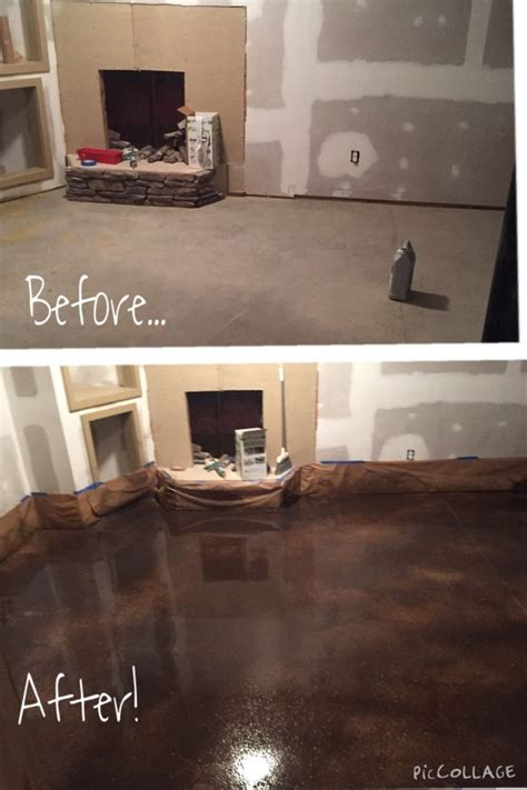 basement almostbehr concrete stain golden desert  brownstone concrete stained floors