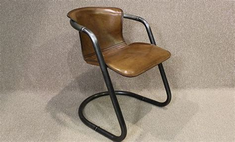 industrial armchair tubular steel and leather chair superb quality unusual