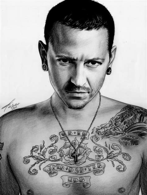 portrait of chester bennington by greg drawings on stars