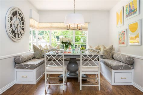 lovely circular banquette seating dining room beach style