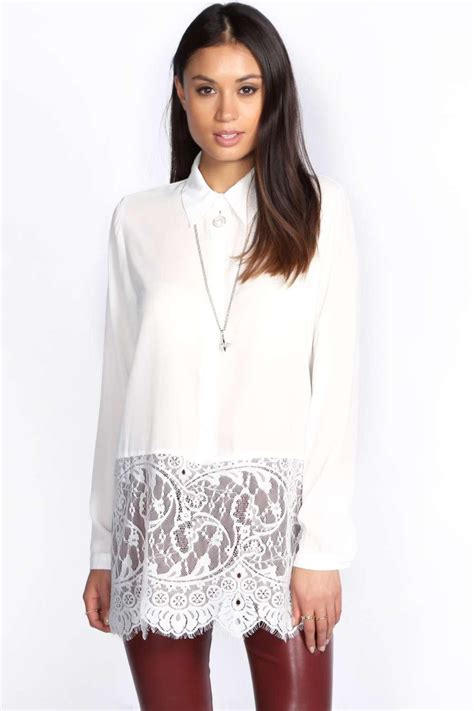 Sleeve Lace Trim Shirt boohoo womens tessa hip length eyelash lace trim