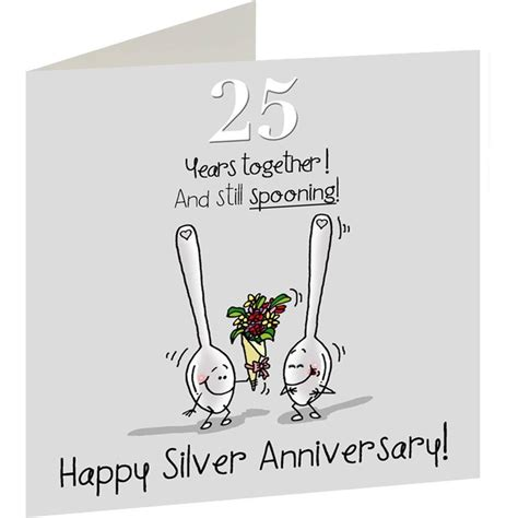 25th Wedding Anniversary Card And In by 25th Wedding Silver Anniversary Card